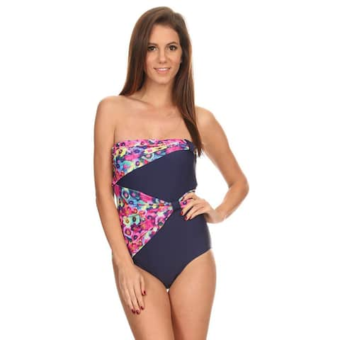 Famous Maker Women's Pink/ Navy Fancy Draped Overlay Strapless Bandeau One-piece Swimsuit
