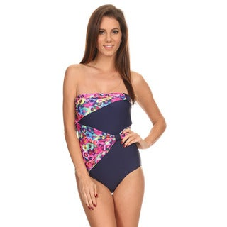 Dippin' Daisy's Women's Pink/ Navy Fancy Draped Overlay Strapless Bandeau One-piece Swimsuit