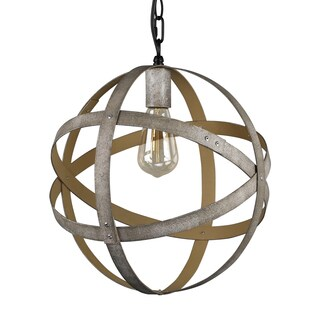Journee Home 'Zia' 14 in Iron Hard Wired Orb Pendant Light With Included Edison Bulb