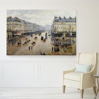 Camille Pissarro 'Avenue-de-Opera-Rain' Premium Giclee Gallery Wrapped Canvas