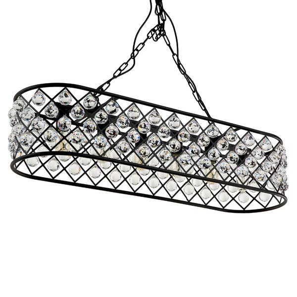 Journee Home 'Crystal Garden' 7 in Hard Wired Iron Crystal Island Pendant Light