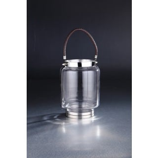 Glass in Metal Frame Lantern with Handle 10 inches high