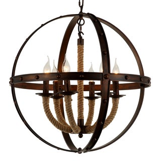 Journee Home 'Akasha' 24 in Hard Wired Iron Hemp Rope Orb Chandelier With 6 Included Edison Bulbs