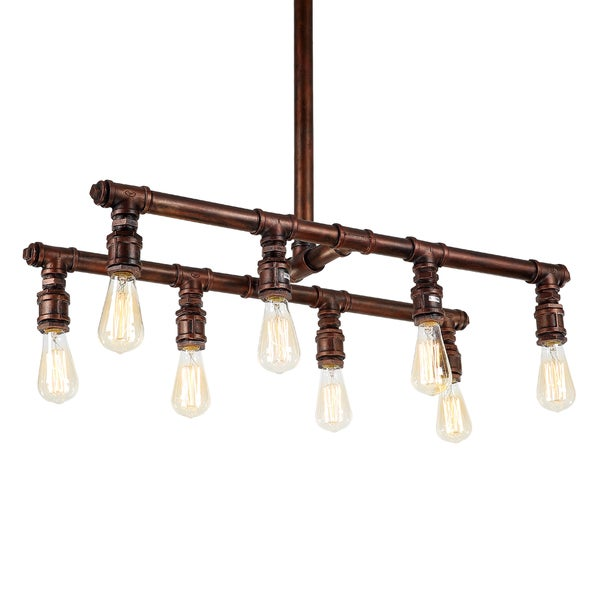 Journee Home 'Thompson' 35 in Hard Wired Industrial Island Pendant Light With 8 Included Edison Bulb