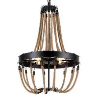 Journee Home 'Tahitian' 30 in Hard Wired Iron Hemp Rope Chandelier With 4 Included Edison Bulbs
