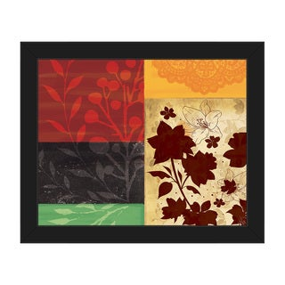 Floral Squares Framed Canvas Wall Art Print
