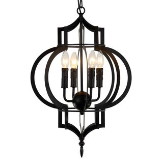Journee Home 'Aziza' 24 in Iron Hard Wired Chandelier With 4 Included Edison Bulbs