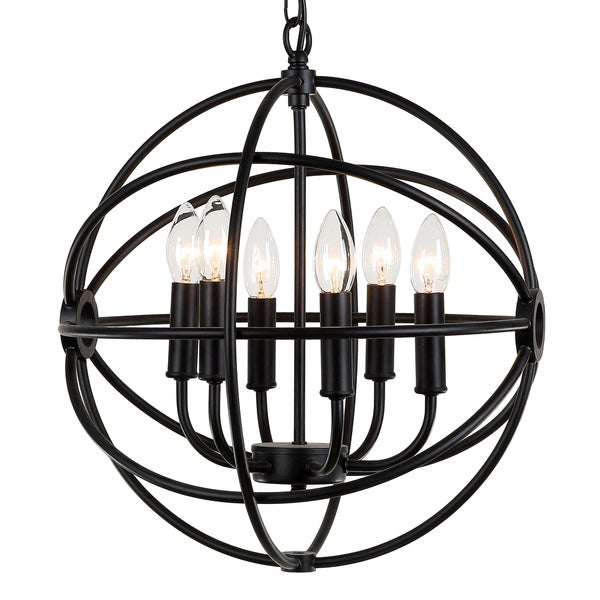 Journee Home 'Mahin' 20 in Hard Wired Iron Chandelier With 6 Included Edison Bulbs