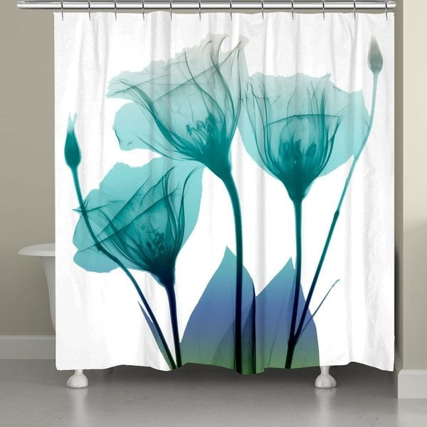 Laural Home Ombre Blue Floral Shower Curtain Free Shipping Today 20677232
