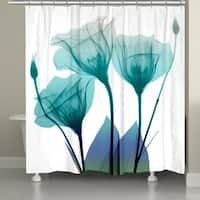 Laural Home Ombre Blue Floral Shower Curtain