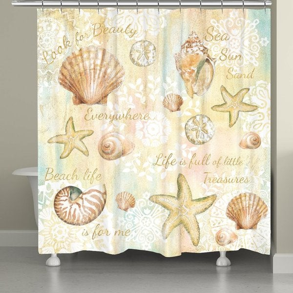 Laural Home Golden Sea Life Shower Curtain