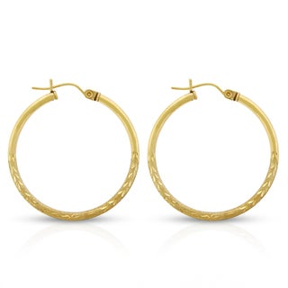 Women's 10k Yellow Gold 1.2-inch Floral Diamond-cut Brush Sparkle Tube Hoop Earrings