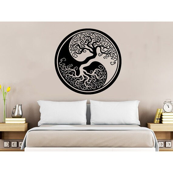 shop tree roots nature symbol yoga yin yang vinyl sticker decal size