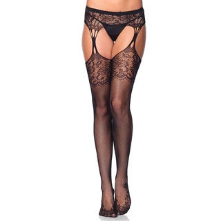 Leg Avenue Black Nylon and Spandex Lace-top Fishnet Stocking with Lace Cuban Heel and Teardrop Garter Belt