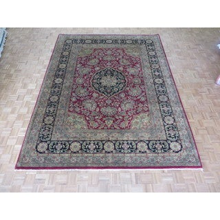 Hand-knotted Agra Burgundy Wool Oriental Rug (9'3 x 12')