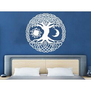 Sun Moon Sunshine Stars Crescent Dual Ethnic Night Symbol Tree Sticker Decal size 33x33 Color Black