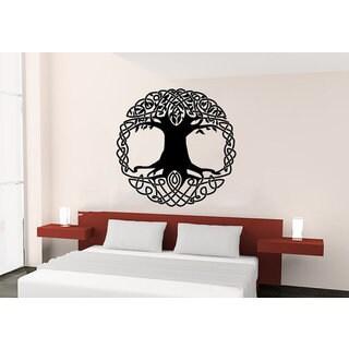 Sun Moon Sunshine Stars Crescent Dual Ethnic Night Symbol Tree Sticker Decal size 48x48 Color Black