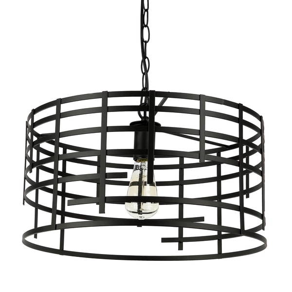 Journee Home 'Iron Coup' 9 in Hard Wired Iron Pendant Light With Included Edison Bulb