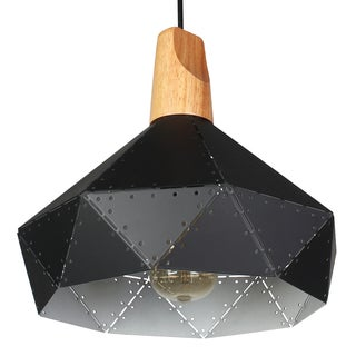 Journee Home 'Acero' 11 in Hard Wired Iron And Wood Pendant Light