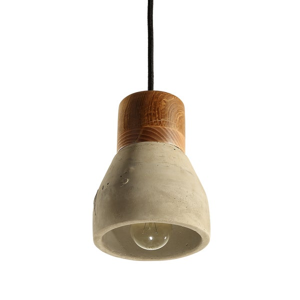Journee Home 'Eartha' 7 in Hard Wired Cement And Wood Pendant Light