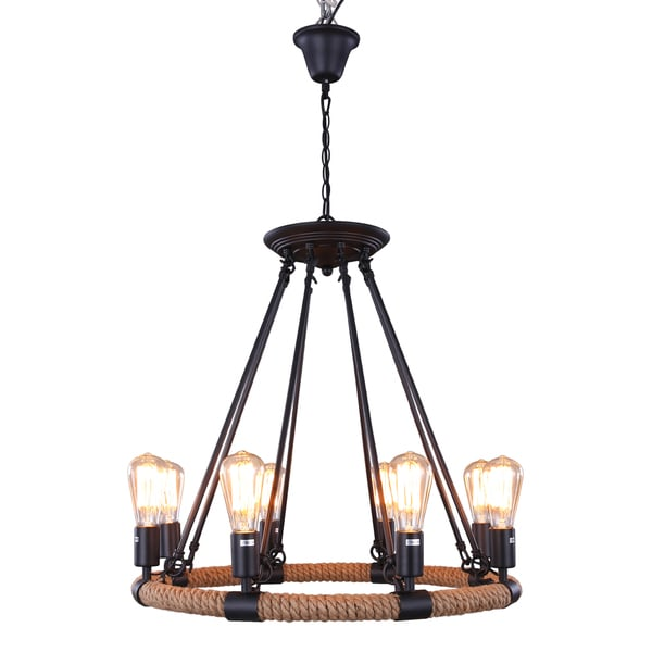 Journee Home 'Renaissance' 24 in Hard Wired Hemp Rope Chandelier With 8 Included Edison Bulbs