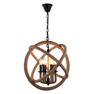 Journee Home 'Ouija' 14 in Hard Wired Hemp Rope Orb Pendant Light With Included Edison Bulb