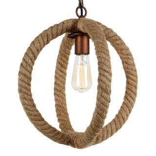 Journee Home 'Jane' 14 in Hard Wired Hemp Rope Orb Pendant Light With Included Edison Bulb