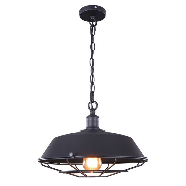 Journee Home 'Flying Saucer' 10 in Industrial Hard Wired Iron Pendant Light With Included Edison Bulb