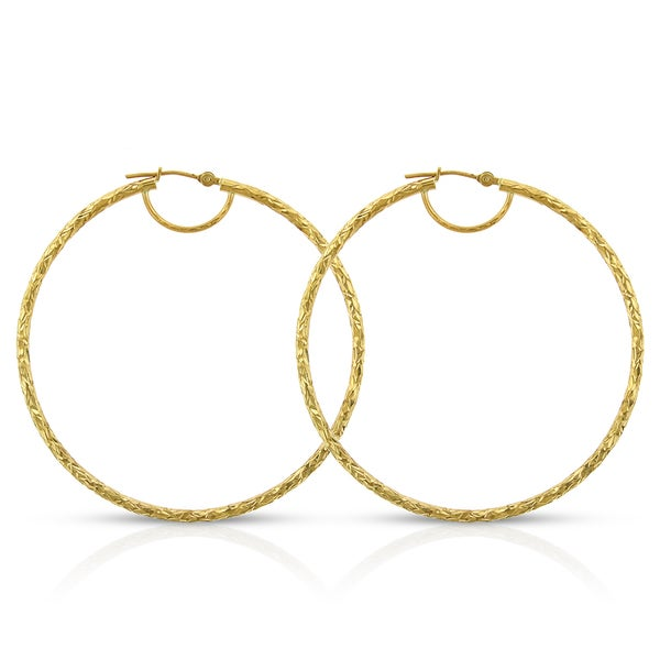 3cc139b18 Shop 14k Yellow Gold Women's Fancy Diamond-cut Hammered Round Tube Hoop  Earrings - Free Shipping Today - Overstock - 14064377