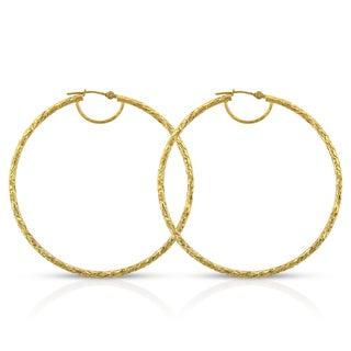 14k Yellow Gold Women's Fancy Diamond-cut Hammered Round Tube Hoop Earrings