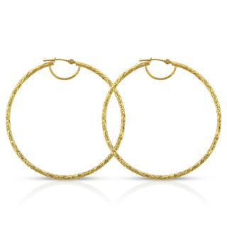 14k Yellow Gold Women's Fancy Diamond-cut Hammered Round Tube Hoop Earrings|https://ak1.ostkcdn.com/images/products/14064377/P20677379.jpg?impolicy=medium