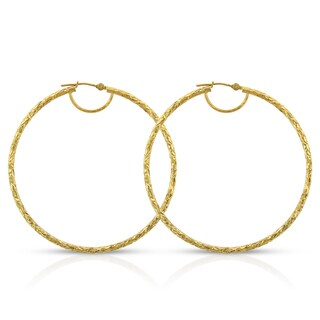 14k Yellow Gold Women's Fancy Diamond-cut Hammered Round Tube Hoop Earrings