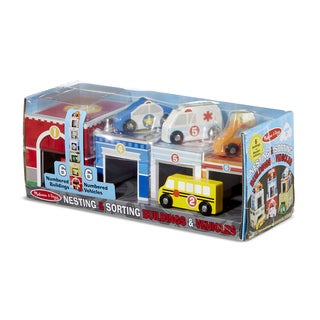 Melissa & Doug Nesting & Sorting Buildings & Vehicles