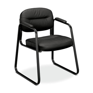 basyx VL653 Series Guest Side Chair, Black SofThread Leather/Black Frame