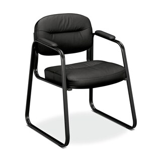 HON Sled Base Guest Chair, in Black Leather (HVL653)