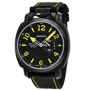 Anonimo Men's AM-1000.02.004.A01 'Militare' Black Dial Black Leather Strap Swiss Mechanical Watch