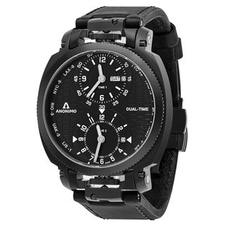 Anonimo Men's AM-1200.02.003.A01 'Militare' Black Dial Black Leather Strap Dual Time Swiss Mechanical Watch