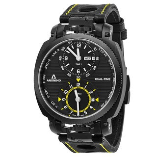 Anonimo Men's AM-1200.02.002.A01 'Militare' Black Dial Black Leather Strap Dual Time Swiss Mechanical Watch