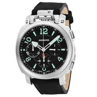 Anonimo Men's AM-1100.01.002.A01 'Militare' Black Dial Black Leather Strap Chronograph Swiss Mechanical Watch