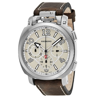 Anonimo Men's AM-1100.01.001.A01 'Militare' Tan Dial Brown Leather Strap Chronograph Swiss Mechanical Watch