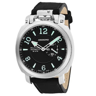 Anonimo Men's AM-1000.01.002.A01 'Militare' Black Dial Black Leather Strap Swiss Mechanical Watch