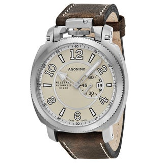 Anonimo Men's AM-1000.01.001.A01 'Militare' Tan Dial Brown Leather Strap Swiss Mechanical Watch