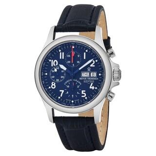 Revue Thommen 17081.6539 'Pilot' Blue Dial Blue Leather Strap Chronograph Swiss Automatic Watch