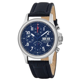 Revue Thommen 17081.6539 'Pilot' Blue Dial Blue Leather Strap Chronograph Swiss Automatic Watch