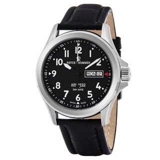 Revue Thommen 16020.2537 'Air Speed' Black Dial Black Leather Strap Date Day Swiss Automatic Watch