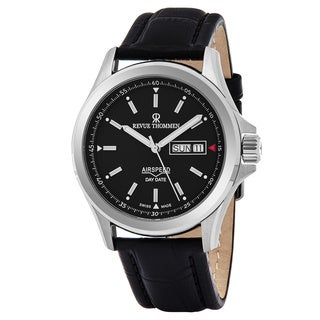 Revue Thommen 16020.2534 'Air Speed' Black Dial Black Leather Strap Date Day Swiss Automatic Watch