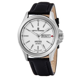 Revue Thommen 16020.2532 'Air Speed' Silver Dial Black Leather Strap Date Day Swiss Automatic Watch