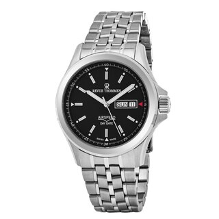 Revue Thommen 16020.2134 'Air Speed' Black Dial Stainless Steel Day Date Swiss Automatic Watch - silver