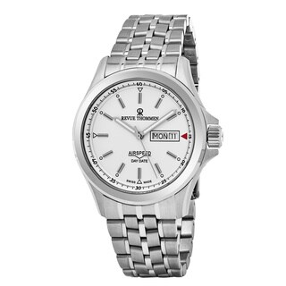 Revue Thommen 16020.2132 'Air Speed' White Dial Stainless Steel Day Date Swiss Automatic Watch - silver