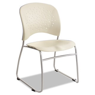 Safco Rêve Series Guest Chair With Sled Base, Latte Plastic, Silver Steel, (Box of 2)